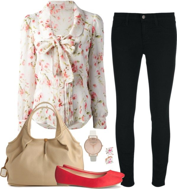 cute work outfit with floral blouse bmodish