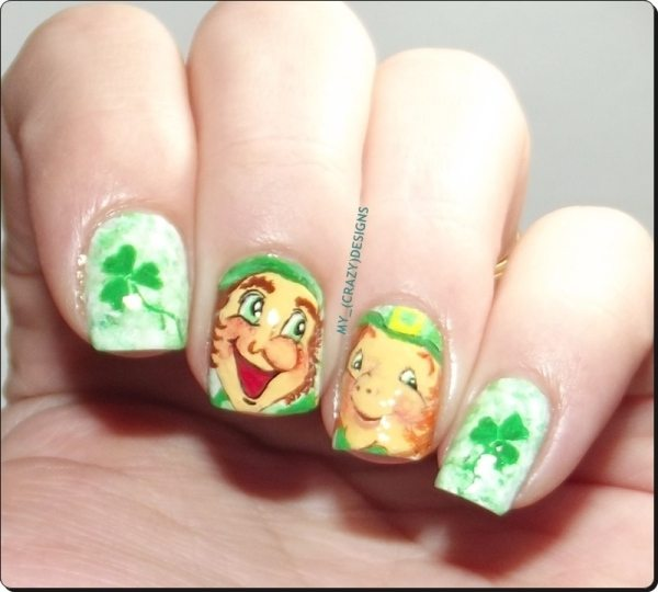 freehand cartoon st patrick nail designs bmodish