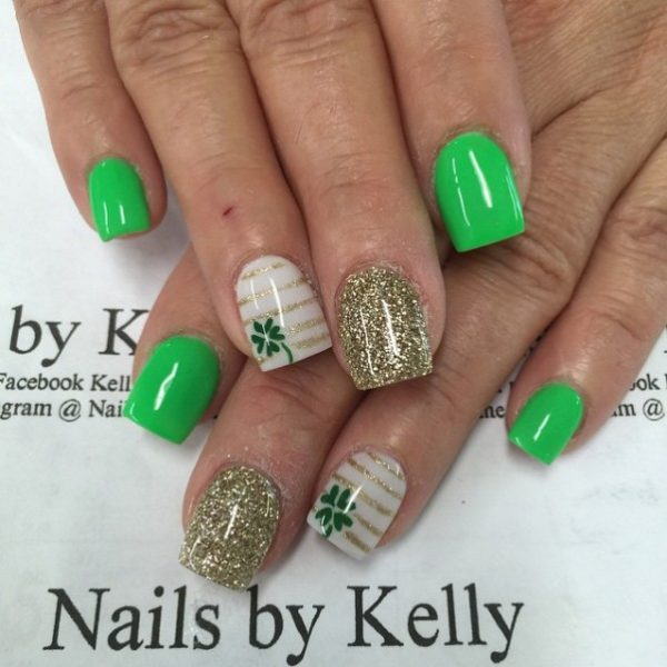 gold, stripe and green st patrick nails bmodish