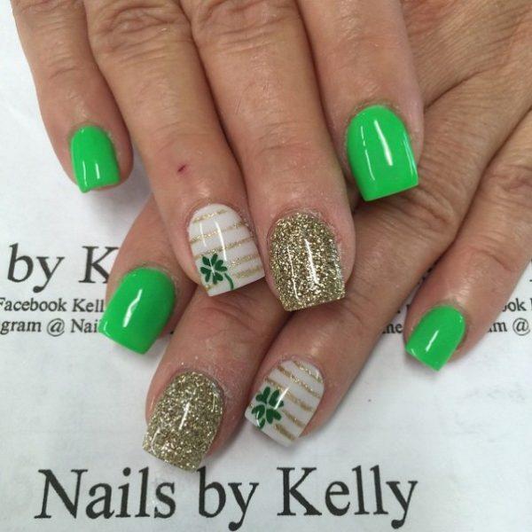 gold and green st patrick nail art bmodish