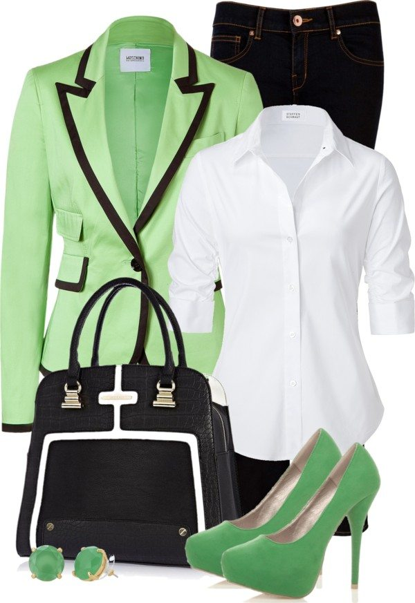 green, black and white casual work outfit bmodish
