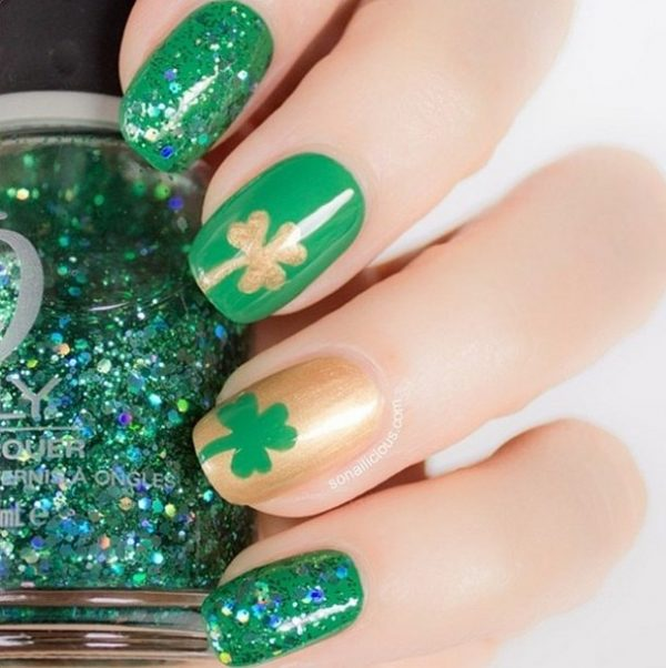 green gold clover st patrick nails bmodish