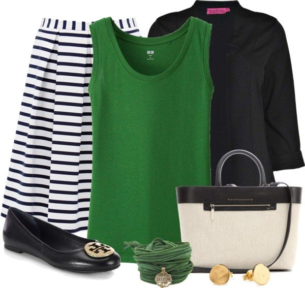 green tank top with stripe skirt st patrick outfit idea bmodish