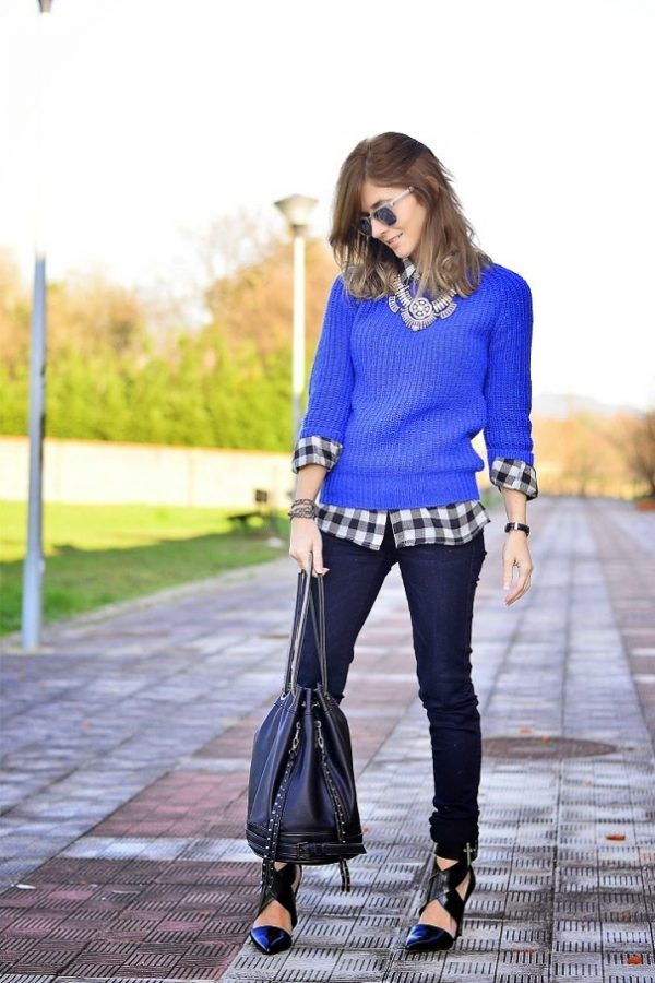 jumper and plaid shirt outfit via bmodish