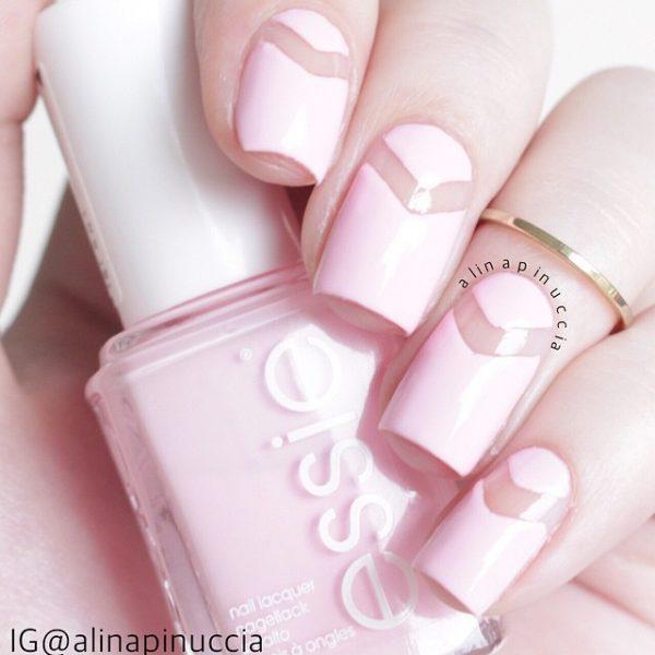 lovely white negative space nail design bmodish
