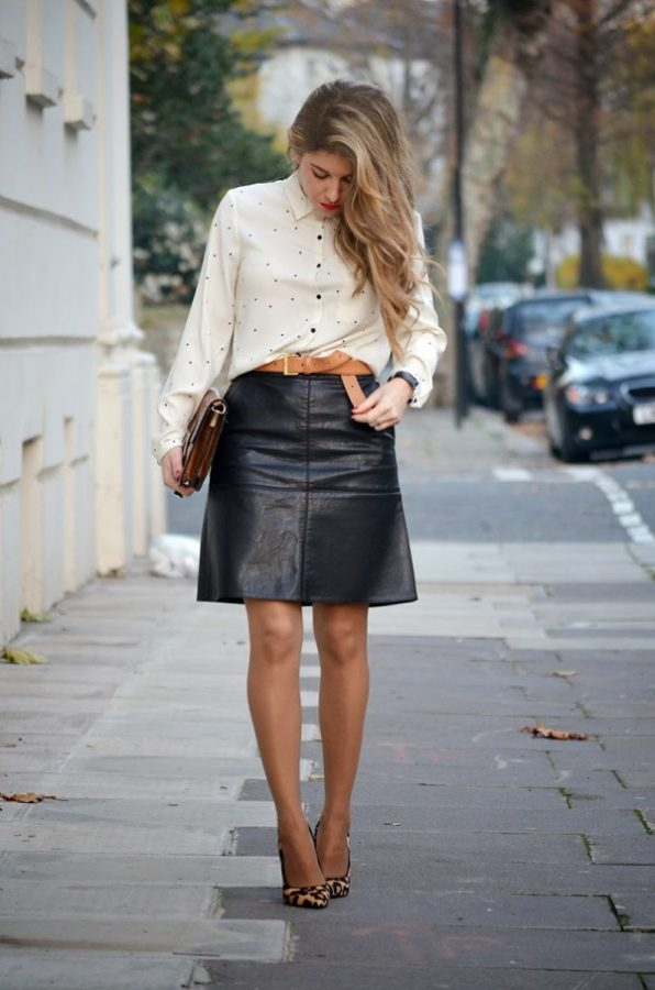 how to wear leather skirt in office