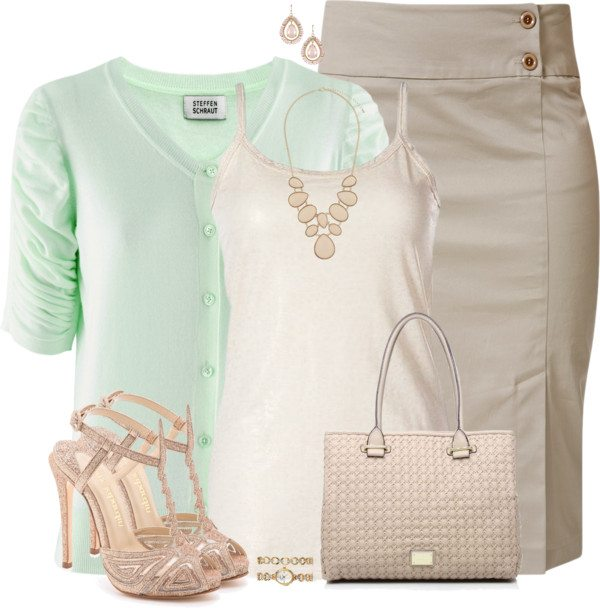 mint, beige and sparkle casual work wear bmodish