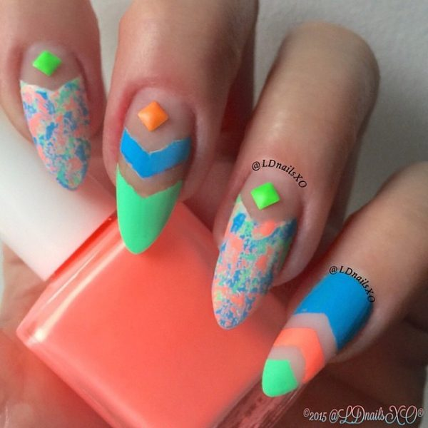 multicolor negative nails bmodish