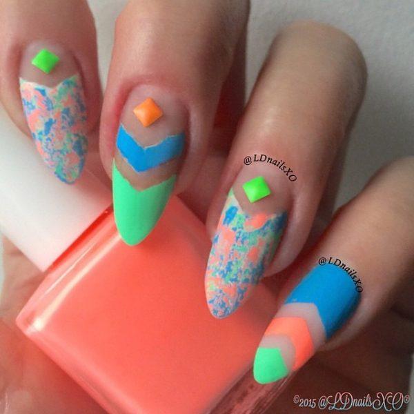 multicolor negative nails bmodish