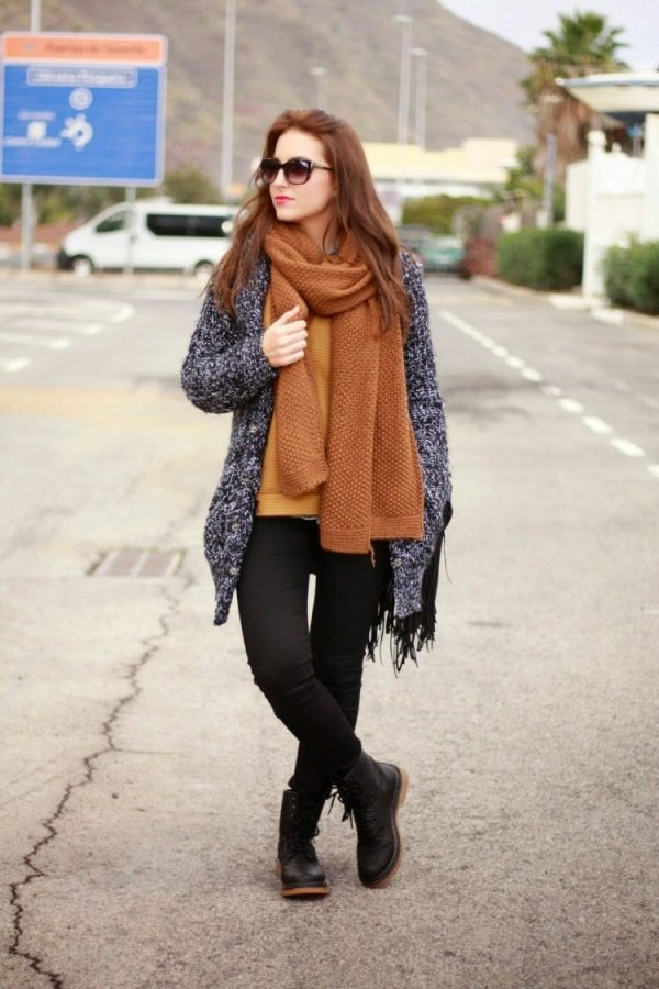 mustard knit long cardigan cozy outfit bmodish