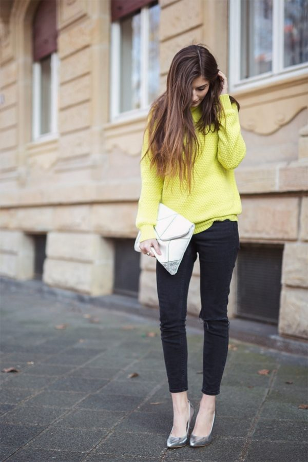 neon lime green jumper and silver clutch outfit via bmodish