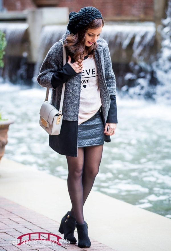 cute winter outfit with skirt