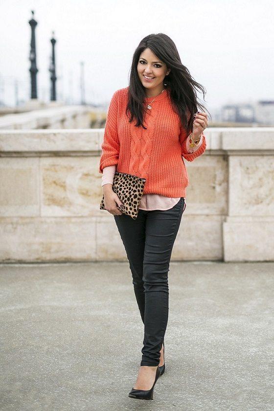 orange jumper layered outfit via bmodish