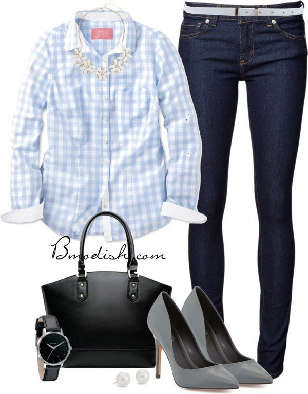 pale blue gingham shirt casual work wear bmodish