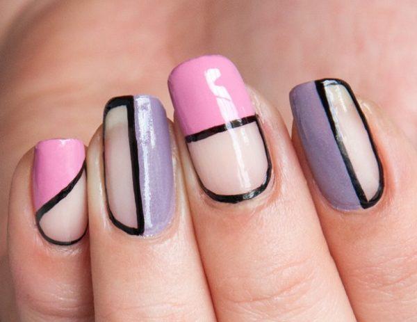 pastel negative space nail design bmodish