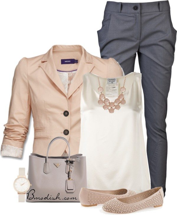 peach blazer with grey pants work outfit bmodish