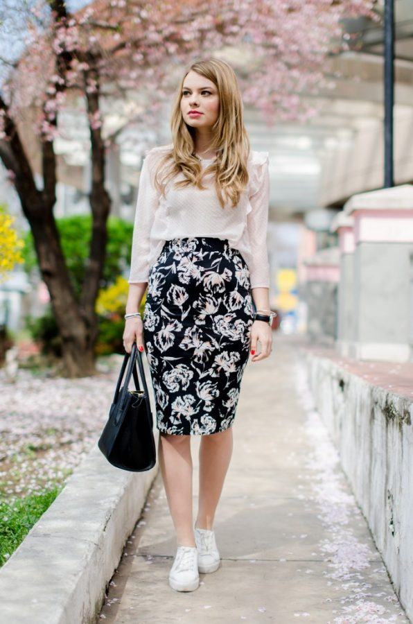 pink blossom floral skirt with blouse bmodish