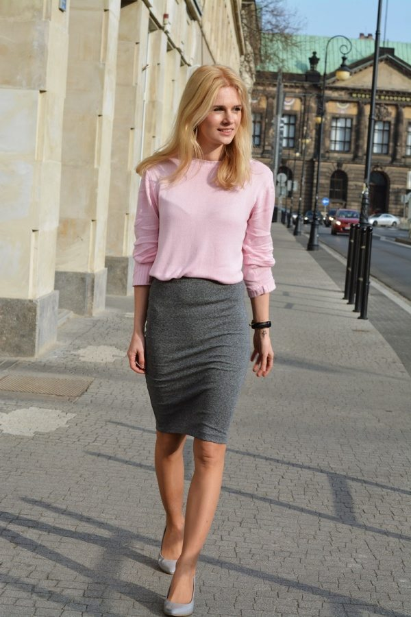 pink and grey casual business work outfit