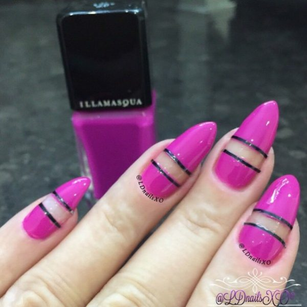 purple with black striping negative space nails bmodish