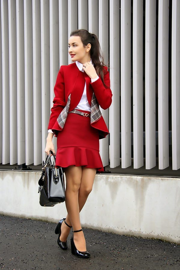 red preppy work wear bmodish