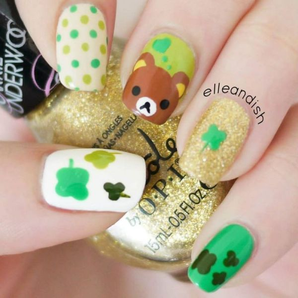 rilakuma and clover st patrick day nails bmodish