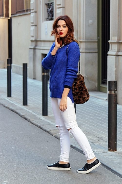 royal blue jumper with white jeans bmodish