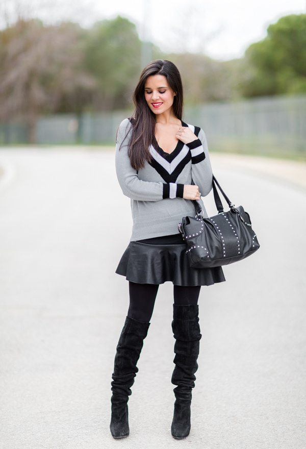 sheinside-v neck sweaters outfit bmodish
