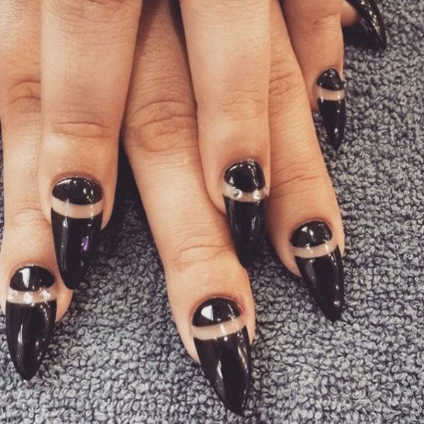 simple black negative nails bmodish