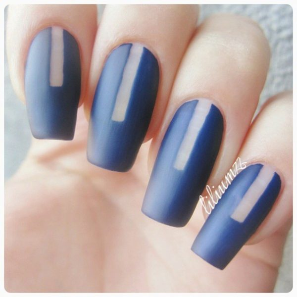 simple blue negative space nails bmodish