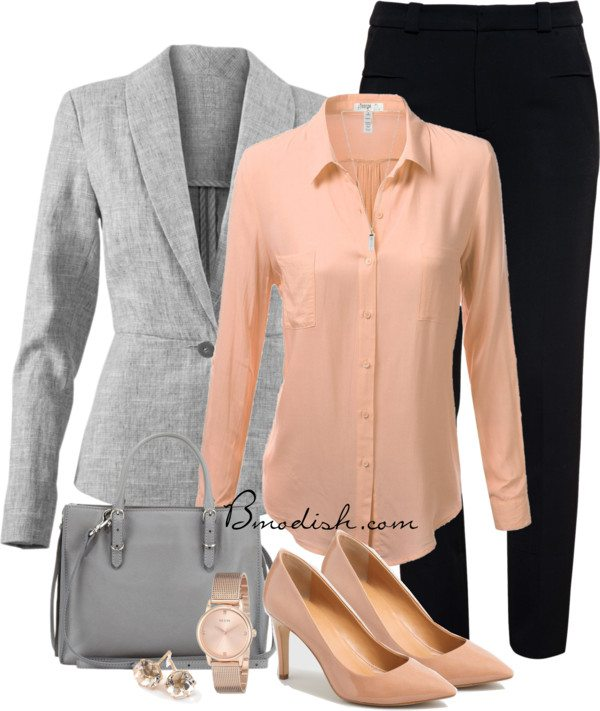 simple casual peach blouse with grey blazer work outfit bmodish