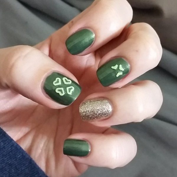 simple green st patrick nail art bmodish