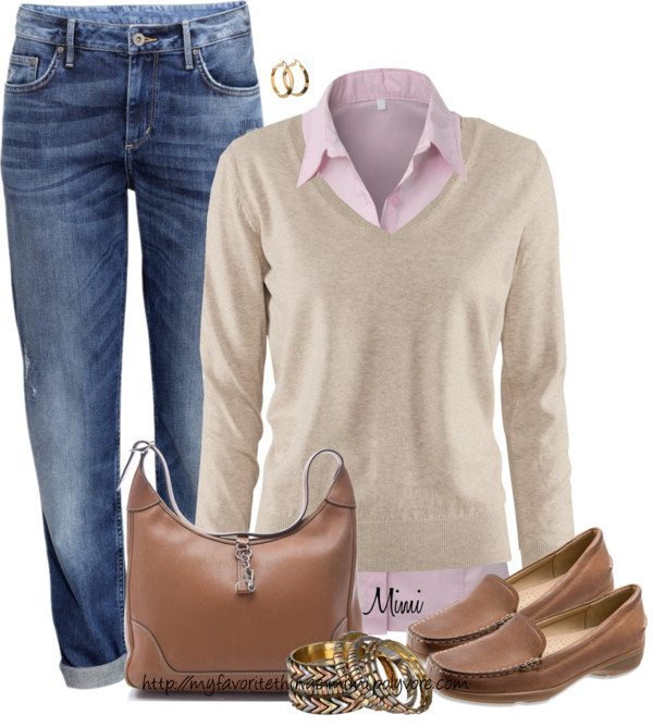 simple layered casual work outfit polyvore