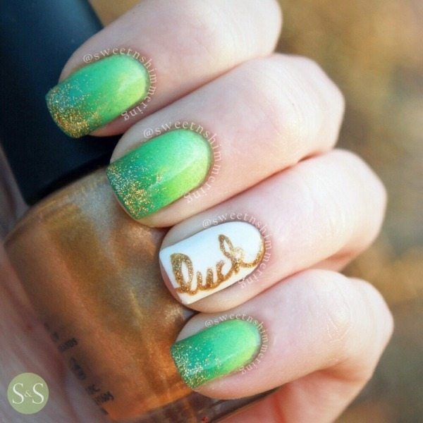 lucky irish st patrick day nail art