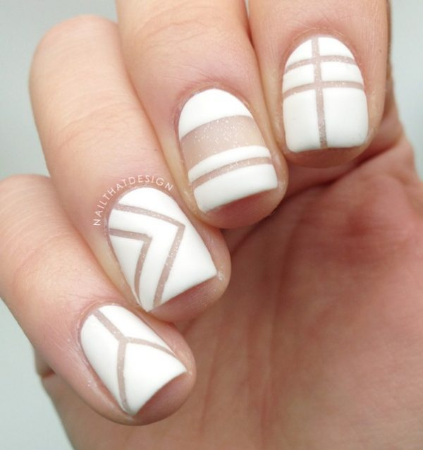 simple white negative space nails bmodish