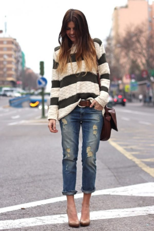 striped jumper with ripped boyfriend jeans outfit