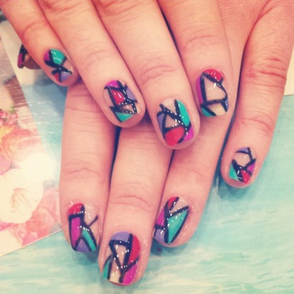 stylish multicolor negative space nails bmodish
