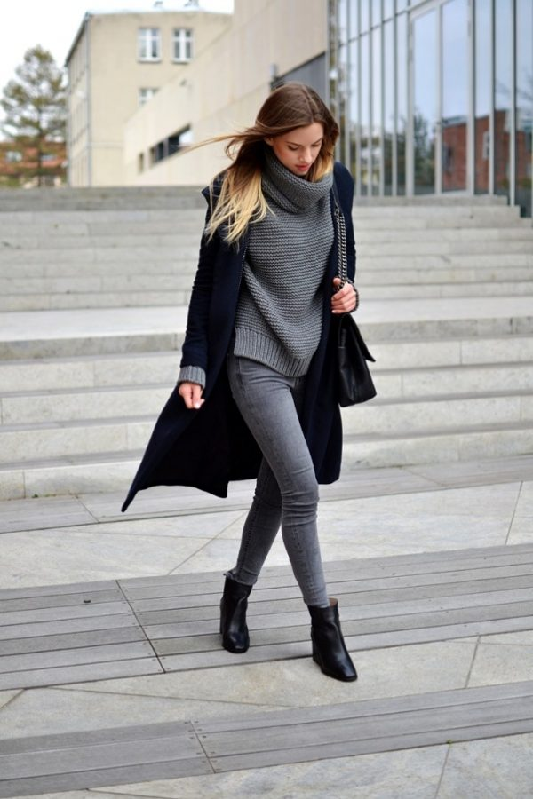 turtleneck-jumper-with-navy-coat-outfit-via-bmodish Sweater Styles 2018-18 Best Styles of Sweater for Women this Year