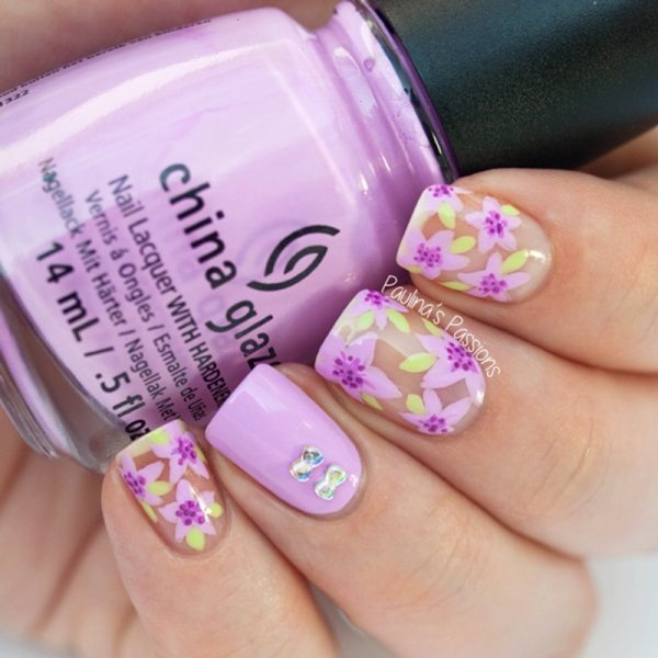 violet floral negative space nails bmodish
