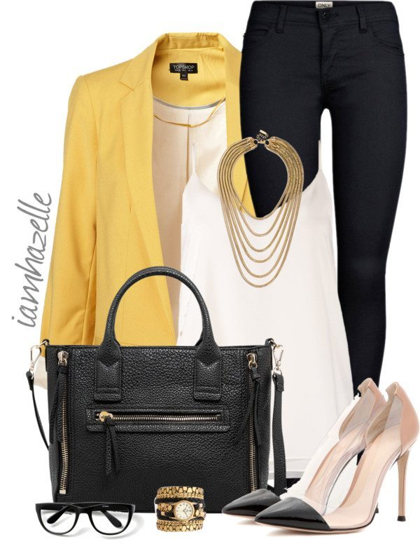 yellow blazer stylish work outfit bmodish