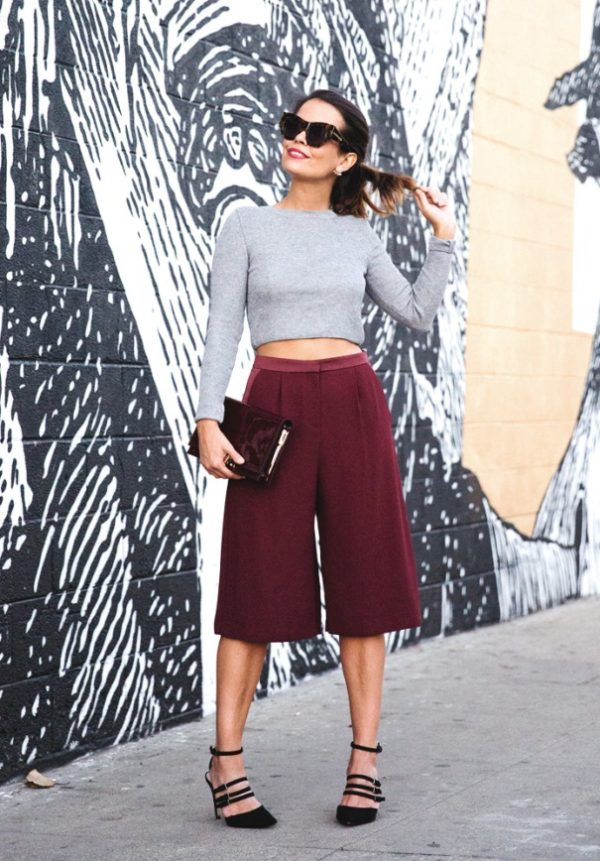 burgundy cullote casual summer outfit
