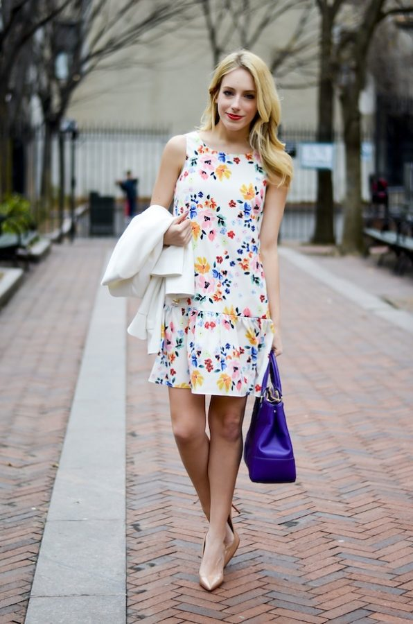 floral sleeveless mini dress spring outfit