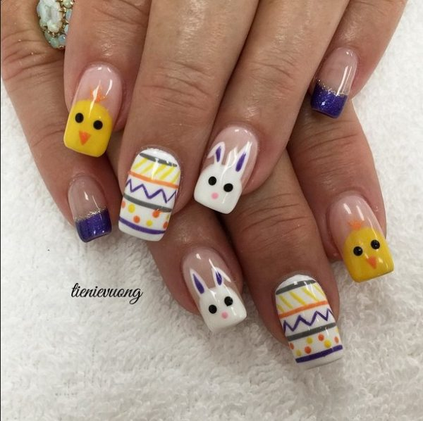 Cute bunnies and chicken easter nails bmodish