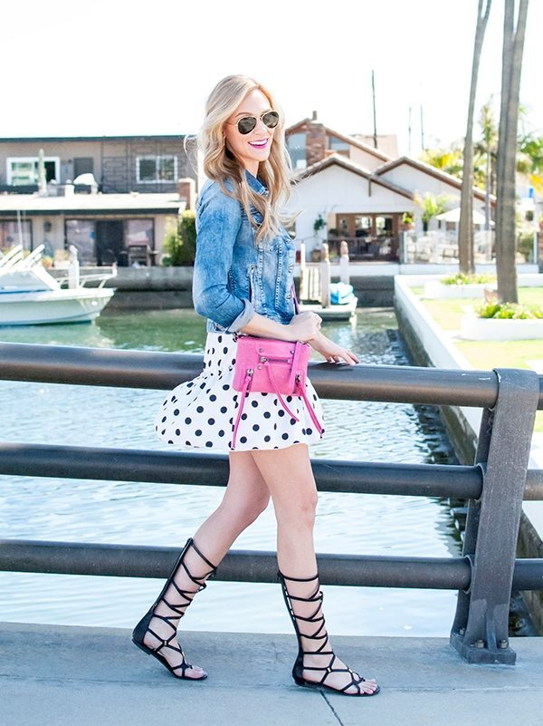 Polka Dot Dress with denim jacket bmodish