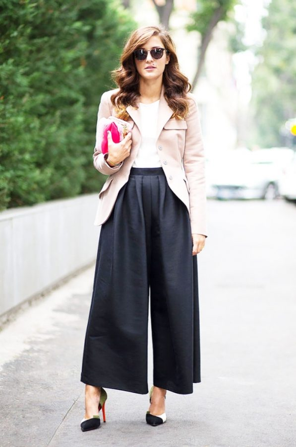 black cullotes with pink jacket bmodish