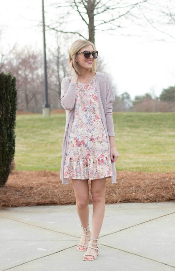 blush and floral print dress bmodish
