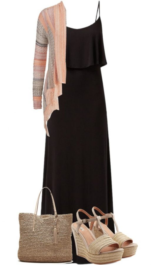 casual black maxi dress with cardigan and wedges bmodish