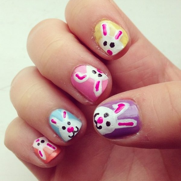 colorful bunnies easter nails bmodish