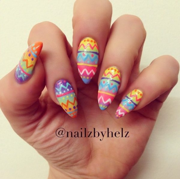 colorful easter nail art bmodish - Ready For Easter : 38 Super Cute Easter Nail Art Designs - Be Modish