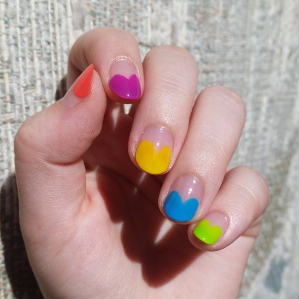colorful half moon nail art bmodish