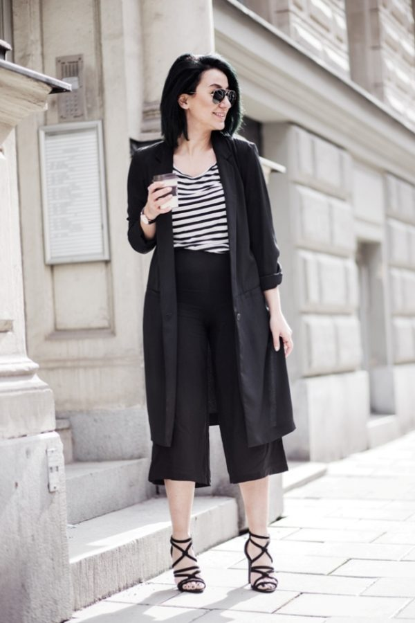 culottes with stripe top and blazer bmodish